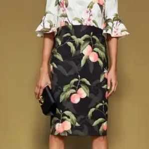 TED BAKER Areea peach blossom fluted sleeve dress